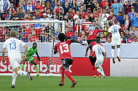 CLEVELAND, OHIO - JUNE 22: Daneil Cyrus #5, Gyasi Zardes #9 during a 2019 CONCACAF Gold Cup group D match between the United States and Trinidad & Tobago at FirstEnergy Stadium on June 22, 2019 in Cleveland, Ohio.