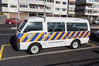 South Africa, Cape Town.  Police Vehicle, Sea Point Promenade.