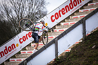 later winner Mathieu Van der Poel (NED/Alpecin Fenix) solo to yet another race win. <br /> <br /> Men Elite Race<br /> UCI Cyclocross Worldcup – Hoogerheide (Netherlands)<br /> <br /> ©kramon