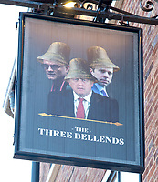 A new sign outside what was The James Atherton pub, in The Wirral, has taken a tongue in cheek swipe at key members of the Government featuring an unflattering collage of Prime Minister Boris Johnson, his adviser Dominic Cummings and Health Secretary Matt Hancock with bells on their heads. OCTOBER 15th 2020.Credit: Matrix/MediaPunch ***FOR USA ONLY***<br /> <br /> REF: TST 201326