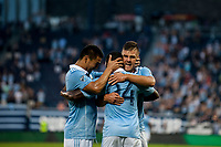 Kansas City, KS - Wednesday August 9, 2017: Roger Espinoza, Jimmy Medranda, Diego Rubio, celebrate, celebration during a Lamar Hunt U.S. Open Cup Semifinal match between Sporting Kansas City and the San Jose Earthquakes at Children's Mercy Park.