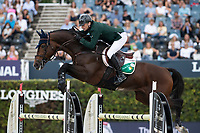 3rd October 2021;  Real Club de Polo, Barcelona, Spain; CSIO5 Longines FEI Jumping Nations Cup Final 2021; Denis Lynch from Ireland during the FEI Jumping Nations Cup Final 2021