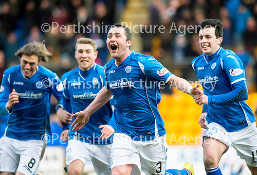 St Johnstone v Motherwell…20.02.16   SPFL   McDiarmid Park, Perth<br />Tam Scobbie celebrates his goal with Murray Davidson, David Wotherspoon and Joe Shaughnessy<br />Picture by Graeme Hart.<br />Copyright Perthshire Picture Agency<br />Tel: 01738 623350  Mobile: 07990 594431