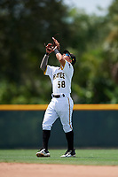 GCL Pirates second baseman Francisco Acuna (58) settles under a pop up during a game against the GCL Tigers West on August 13, 2018 at Pirate City Complex in Bradenton, Florida.  GCL Tigers West defeated GCL Pirates 5-1.  (Mike Janes/Four Seam Images)