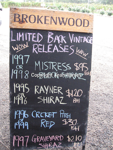 Wine list, Hunter Valley wine country, Australia