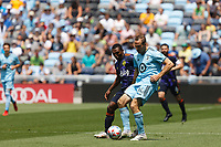 ST PAUL, MN - JULY 18: Brent Kallman #14 of Minnesota United FC passes the ball during a game between Seattle Sounders FC and Minnesota United FC at Allianz Field on July 18, 2021 in St Paul, Minnesota.