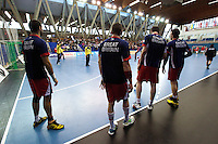 08 JAN 2012 - LONDON, GBR - The Great Britain team warmup before  the men's 2013 World Handball Championships qualification match against Austria at the National Sports Centre in Crystal Palace, Great Britain (PHOTO (C) 2012 NIGEL FARROW)