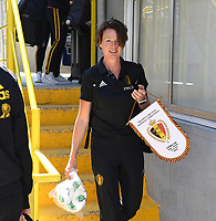 20190306 - LARNACA , CYPRUS :  Belgian physiotherapist Fabienne Van De Steene pictured during a women's soccer game between  Austria and the Belgian Red Flames  , on wednesday 6 March 2019 at the GSZ  Stadium in Larnaca , Cyprus . This is the last game for both teams during the Cyprus Womens Cup 2019 which decides places 3 or 4, The Cyprus Women's cup is a prestigious women soccer tournament as a preparation on the Uefa Women's Euro 2021 qualification duels. PHOTO SPORTPIX.BE | DAVID CATRY