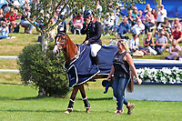 5th September 2021; Bicton Park, East Budleigh Salterton, Budleigh Salterton, United Kingdom: Bicton CCI 5* Equestrian Event; Gemma Tattersall riding Chilli Knight suddenly realises her achievement