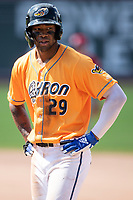 Akron RubberDucks outfielder Will Benson (29) on base on June 27, 2021 against the Erie SeaWolves at Canal Park in Akron, Ohio. (Andrew Woolley/Four Seam Images)