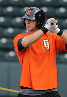 Outfielder Michael Mergenthaler (28) of the Augusta GreenJackets, a San Francisco Giants affiliate, prior to a game against the Greenville Drive on April 19, 2012, at Fluor Field at the West End in Greenville, South Carolina. (Tom Priddy/Four Seam Images)