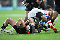Jack Nowellof England brings down William Tupou of Japan during the Quilter International match between England and Japan at Twickenham Stadium on Saturday 17th November 2018 (Photo by Rob Munro/Stewart Communications)