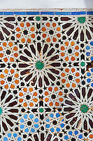 The arabesque zelige tiles of the Saadian Tombs the 16th century mausoleum of the Saadian rulers, Marrakech, Morroco
