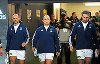 Match officials, from left: Romain Poite, Jaco Peyper and Jerome Garces, walk out for the 2017 DHL Lions Series rugby union match between the NZ All Blacks and British & Irish Lions at Eden Park in Auckland, New Zealand on Saturday, 24 June 2017. Photo: Dave Lintott / lintottphoto.co.nz