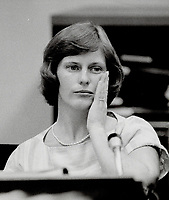 1984 FILE PHOTO - ARCHIVES -<br /> <br /> 1984 FILE -<br /> Nurse Susan Nelles wiped away a tear as she testified at inquiry into baby deaths at Hospital For Sick Children.<br /> <br /> PHOTO ; <br /> Bull, Ron<br /> <br /> PHOTO : Ron BULL - Toronto Star Archives - AQP