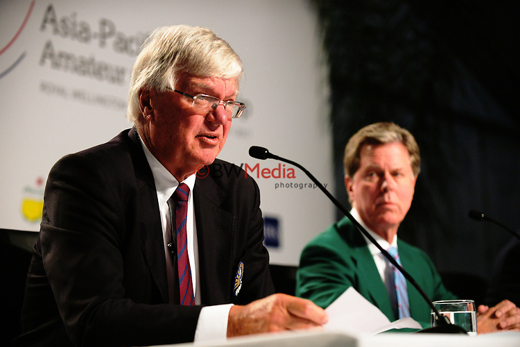Asia Pacific Golf Federation chairman Dr David Cherry on day one of the 2017 Asia-Pacific Amateur Championship day one at Royal Wellington Golf Club in Wellington, New Zealand on Thursday, 26 October 2017. Photo: Dave Lintott / lintottphoto.co.nz