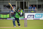 Niall O'Brien plays and gets a snick at the Ireland v England One Day Cricket International held at Malahide Cricket Club, Dublin, Ireland. 8th May 2015.<br /> Photo: Joe Curtis/www.newsfile.ie