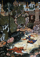 "Mughal India:  ""Amir and a Fallen Stranger Outside the Castle of Fulad"", 1562-1577.  Michael Brand and Glenn D. Lowry, AKBAR'S INDIA. Art from the Mughal City of Victory, 1985."