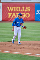 Jimmy Titus (40) of the Ogden Raptors on defense against the Grand Junction Rockies at Lindquist Field on July 23, 2019 in Ogden, Utah. The Raptors defeated the Rockies 11-4. (Stephen Smith/Four Seam Images)