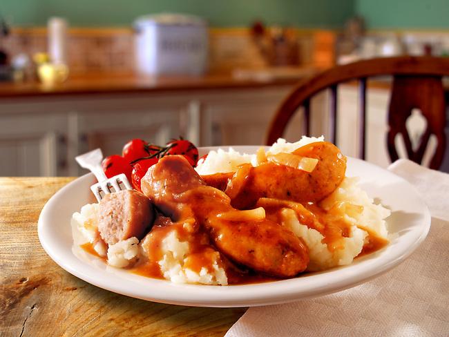 British Food - Cumberland sausages, Onion Gray & Mashed Potatoes