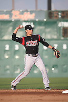 Luis Urias (3) of the Lake Elsinore Storm makes a throw during a game against the Lancaster JetHawks at The Hanger on August 2, 2016 in Lancaster, California. Lake Elsinore defeated Lancaster, 10-9. (Larry Goren/Four Seam Images)