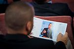 An invitate looking a pamphlet of South Korean diplomatic Ban Ki-moon  attends to UNICEF Awards 2017 in Madrid, June 13, 2017. Spain.<br /> (ALTERPHOTOS/BorjaB.Hojas)