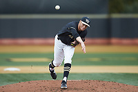 Wake Forest Demon Deacons starting pitcher Colin Peluse (8) delivers a pitch to the plate against the Illinois Fighting Illini at David F. Couch Ballpark on February 16, 2019 in  Winston-Salem, North Carolina.  The Fighting Illini defeated the Demon Deacons 5-2. (Brian Westerholt/Four Seam Images)