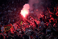Club Atletico de Madrid fans light flares during the UEFA Europa League final football match between Olympique de Marseille and Club Atletico de Madrid at the Groupama Stadium in Decines-Charpieu, near Lyon, France, May 16, 2018.<br /> UPDATE IMAGES PRESS/Isabella Bonotto