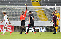 GUADALAJARA, MEXICO - MARCH 24: Referee Daneon Parchment shows Johan Vasquez #5 of Mexico yellow during a game between Mexico and USMNT U-23 at Estadio Jalisco on March 24, 2021 in Guadalajara, Mexico.