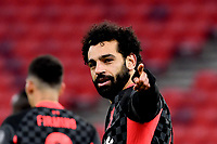 16th February 2021, Puskas Arena, Budapest, Hungary; Champions League football, FC Leipig versus Liverpool FC; Mohamed Salah (r) of Liverpool celebrates scoring his goal for 0:1.