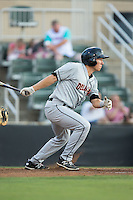Drew Turbin (9) of the Delmarva Shorebirds follows through on his swing against the Kannapolis Intimidators at Kannapolis Intimidators Stadium on June 23, 2016 in Kannapolis, North Carolina.  The game was suspended in the bottom of the 4th inning due to rain.  (Brian Westerholt/Four Seam Images)