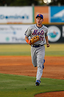 Kingsport Mets outfielder Jarred Kelenic (20) running in to the dugout during a game against the Burlington Royals at Burlington Athletic Complex on July 28, 2018 in Burlington, North Carolina. Burlington defeated Kingsport 4-3. (Robert Gurganus/Four Seam Images)