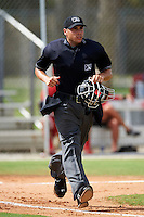 Umpire Mike Wiseman during a Gulf Coast League game between the GCL Cardinals and GCL Marlins at Roger Dean Stadium on July 21, 2012 in Jupiter, Florida.  GCL Cardinals defeated the GCL Marlins 10-1.  (Mike Janes/Four Seam Images)