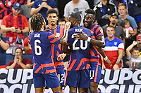 KANSAS CITY, KS - JULY 15: Gianluca Busio #6 ,Miles Robinson #12,Shaq Moore #20 and Daryl Dike #11 of the United States celebrate a goal during a game between Martinique and USMNT at Children's Mercy Park on July 15, 2021 in Kansas City, Kansas.