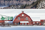 Red barn in Pomfret, VT, USA
