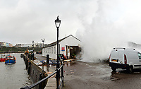 "Pictured: The Harbourmaster's office which has been damaged by waves in Tenby, Wales, UK. Saturday 21 October 2017<br /> Re: Coastal parts of the UK is facing winds of up to 70mph as Storm Brian causes roads to close and public transport to be cancelled.<br /> Roads in Aberystwyth's seafront and at nearby Aberaeron, Wales are shut on Saturday morning as a yellow ""be aware"" Met Office warning is in place.<br /> Seven flood warnings have been issued for the west Wales coast."