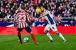 Kieran Trippier of Atletico de Madrid and Javi Lopez of RCD Espanyol during La Liga match between Atletico de Madrid and RCD Espanyol at Wanda Metropolitano Stadium in Madrid, Spain. November 10, 2019. (ALTERPHOTOS/A. Perez Meca)