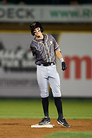 Quad Cities River Bandits Nick Loftin (2) gestures to his teams bench after hitting a double during a game against the South Bend Cubs on August 20, 2021 at Four Winds Field in South Bend, Indiana.  (Mike Janes/Four Seam Images)