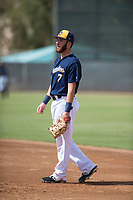 Milwaukee Brewers first baseman David Fry (7) during an Instructional League game against the Los Angeles Dodgers at Maryvale Baseball Park on September 24, 2018 in Phoenix, Arizona. (Zachary Lucy/Four Seam Images)