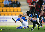St Johnstone v Inverness Caledonian Thistle...05.10.13      SPFL<br /> Stevie May slides in to score the first goal<br /> Picture by Graeme Hart.<br /> Copyright Perthshire Picture Agency<br /> Tel: 01738 623350  Mobile: 07990 594431