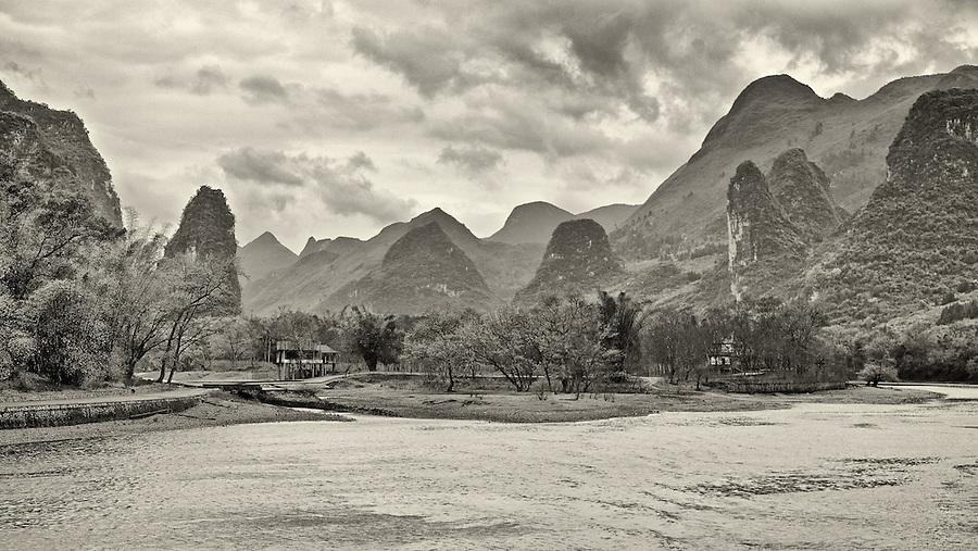 Karst Formations & Shacks, Li River, Guilin.