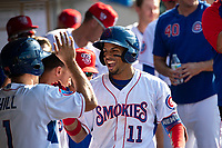 Tennessee Smokies center fielder Christopher Morel (11) celebrates a home run against the Rocket City Trash Pandas at Smokies Stadium on July 2, 2021, in Kodak, Tennessee. (Danny Parker/Four Seam Images)