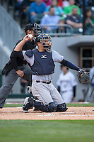 Scranton\Wilkes-Barre RailRiders catcher Austin Romine (7) throws the ball back to his pitcher during the game against the Charlotte Knights at BB&T BallPark on May 1, 2015 in Charlotte, North Carolina.  The RailRiders defeated the Knights 5-4.  (Brian Westerholt/Four Seam Images)