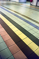 Milano, le piastrelle colorate della pavimentazione alla stazione Lancetti del passante ferroviario --- Milan, the colored tiles of the flooring of suburban railway station Lancetti