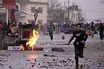 SULAIMANIYAH, IRAQ: A street battle between protesters and police...A third day of violence rocks the Iraqi Kurdish city of Sulaimaniyah.  Tensions between protesters and security forces flare after the security forces continue to use life ammunition during the demonstrations...Photo by Ali Arcady