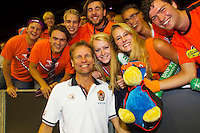 September 13, 2014, Netherlands, Amsterdam, Ziggo Dome, Davis Cup Netherlands-Croatia, Dutch captain Jan Siemerink poses with supporters<br />