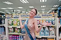 Louise Bennison, Miss Norfolk on a promotional visits to B&M Bargains, Wymondham.