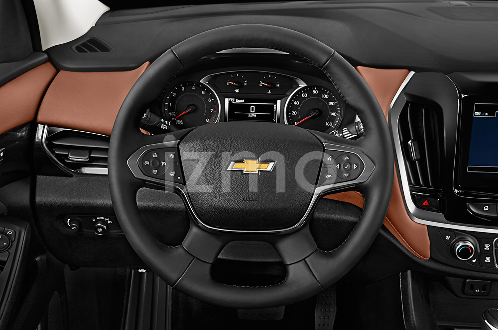 Car pictures of steering wheel view of a 2018 Chevrolet Traverse High Country 5 Door SUV