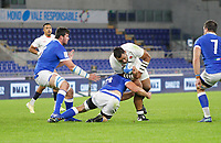 31st October 2020, Olimpico Stadium, Rome, Italy; Six Nations International Rugby Union, Italy versus England;  Billy Vunipola (England) is tackled my Marco Lazzaroni (Ita)