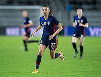 ORLANDO, FL - FEBRUARY 24: Christen Press #23 of the USWNT sprints during a game between Argentina and USWNT at Exploria Stadium on February 24, 2021 in Orlando, Florida.